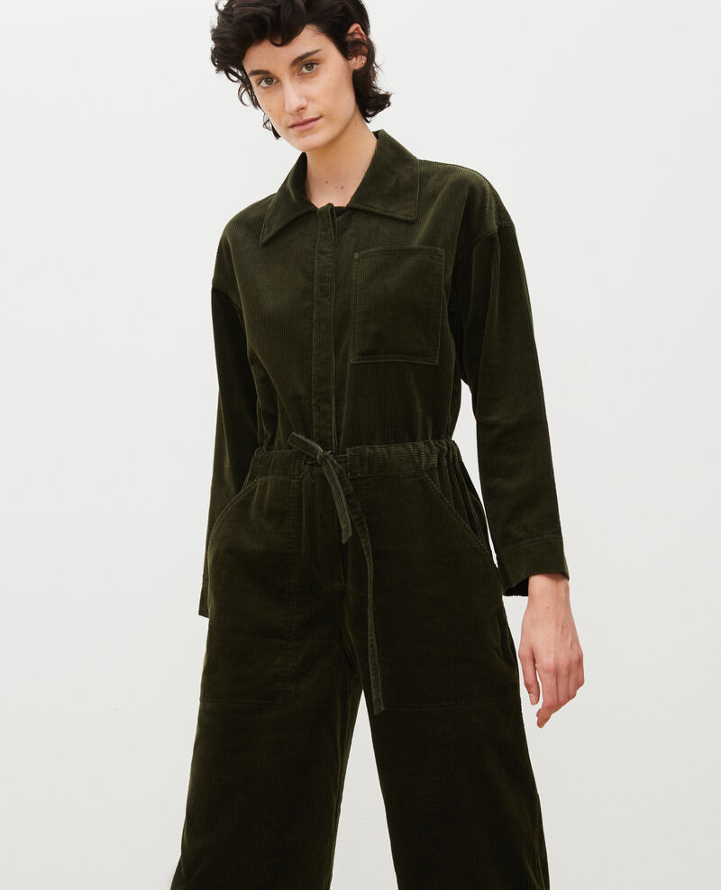 Combipantalon oversize en velours côtelé Military green Marmax