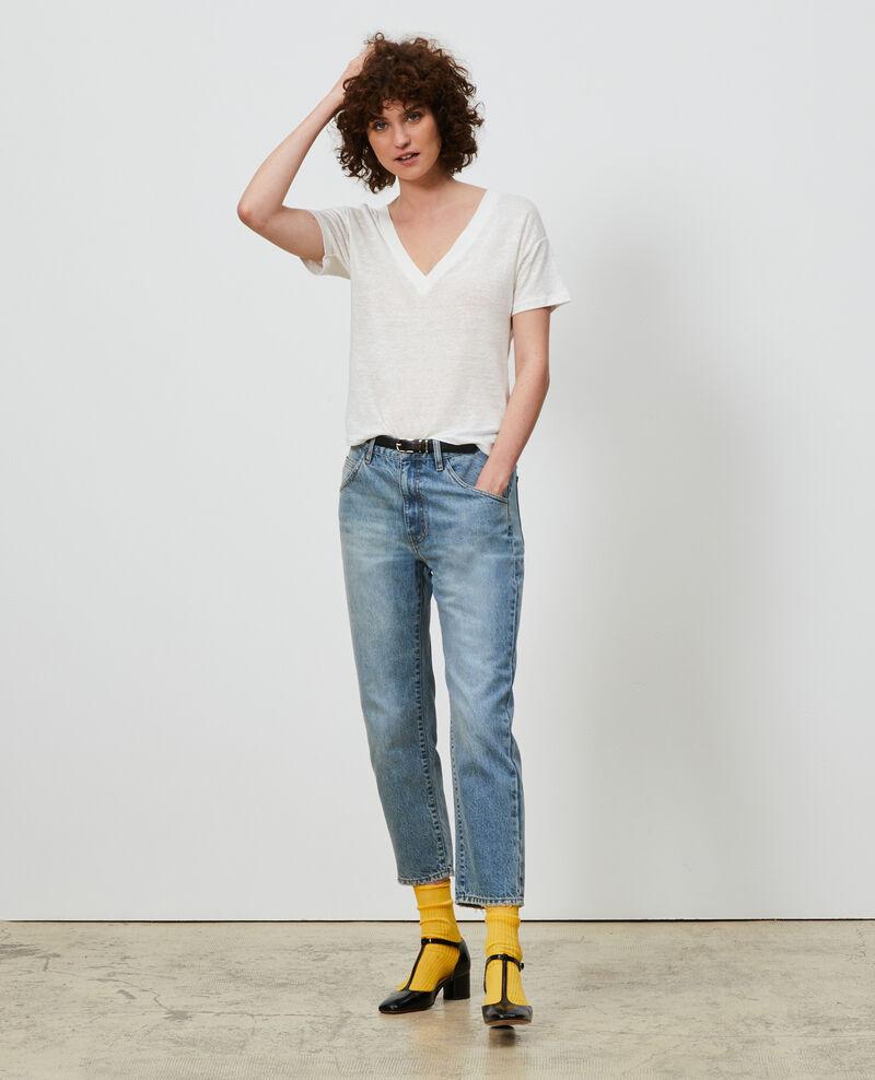 T-shirt col V en lin Optical white Locmelar