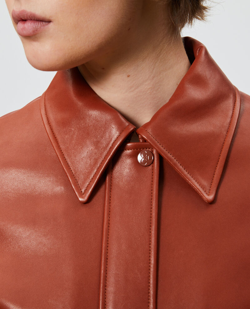 Blouson zippé en cuir d'agneau Camel Mettray