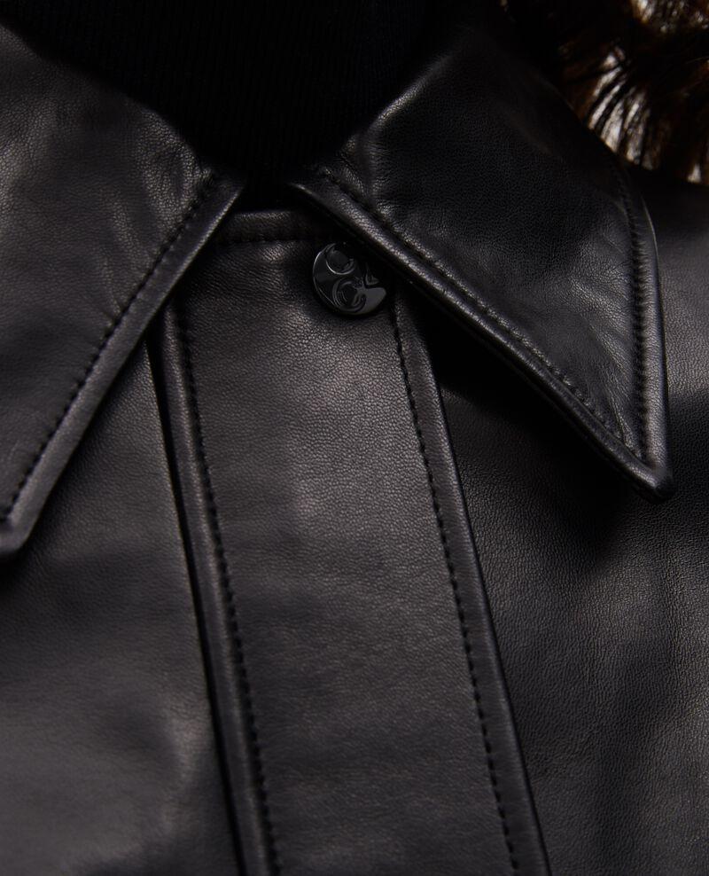 Blouson zippé en cuir d'agneau Black beauty Mettray