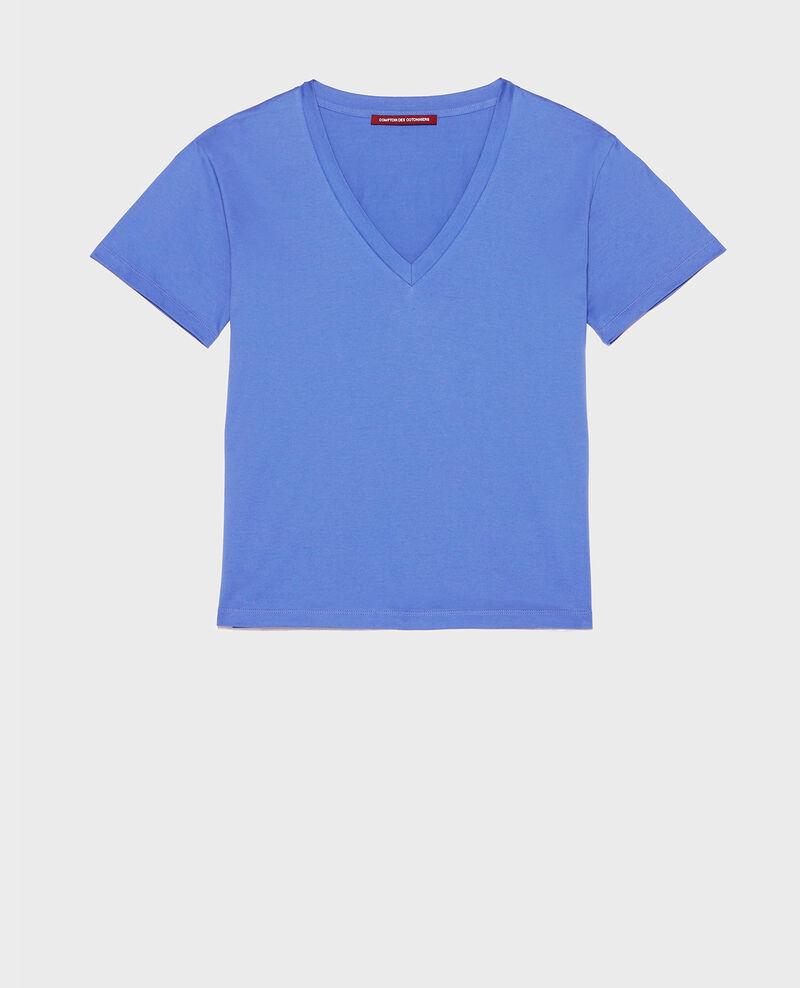 T-shirt en coton col V Amparo blue Laberne