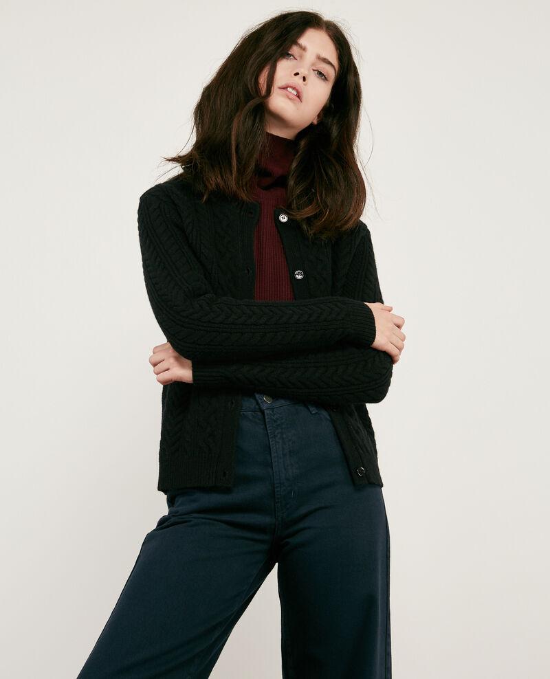 ff934f7901b5 Gilet femme torsadé en 100% laine couleur Noir - Dorigan