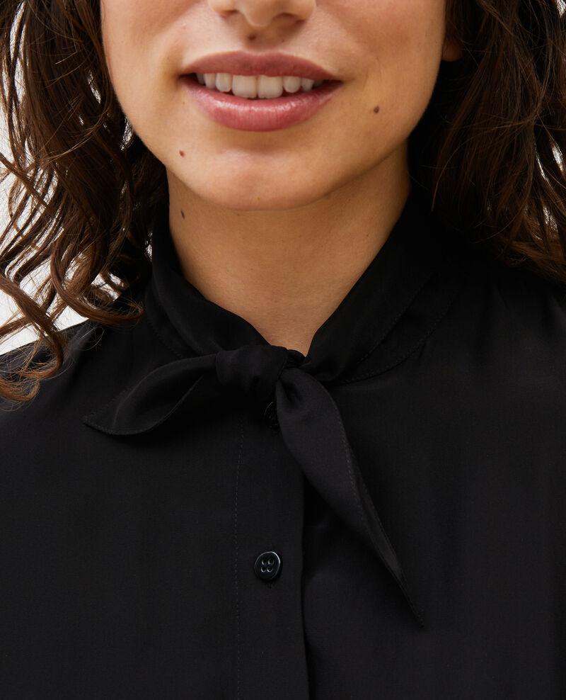Chemise en soie manches longues col noué Black beauty Margueray