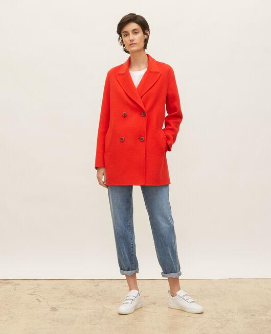 Manteau caban en lainage double face FIERY RED