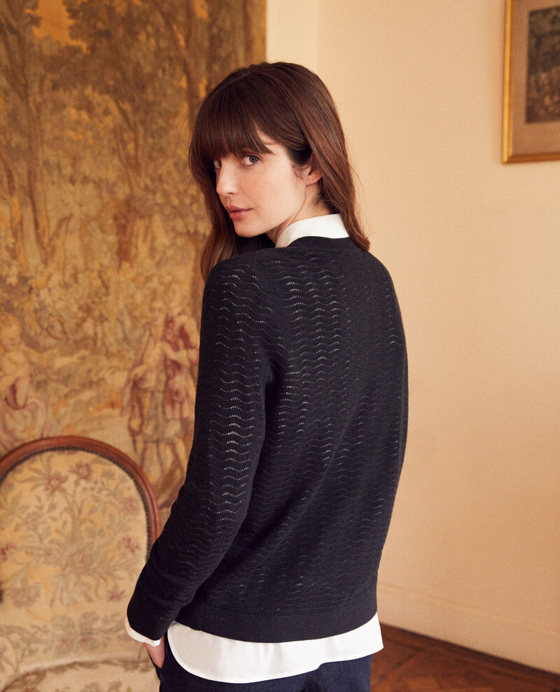 Cardigan en laine fantaisie Noir Jemuel