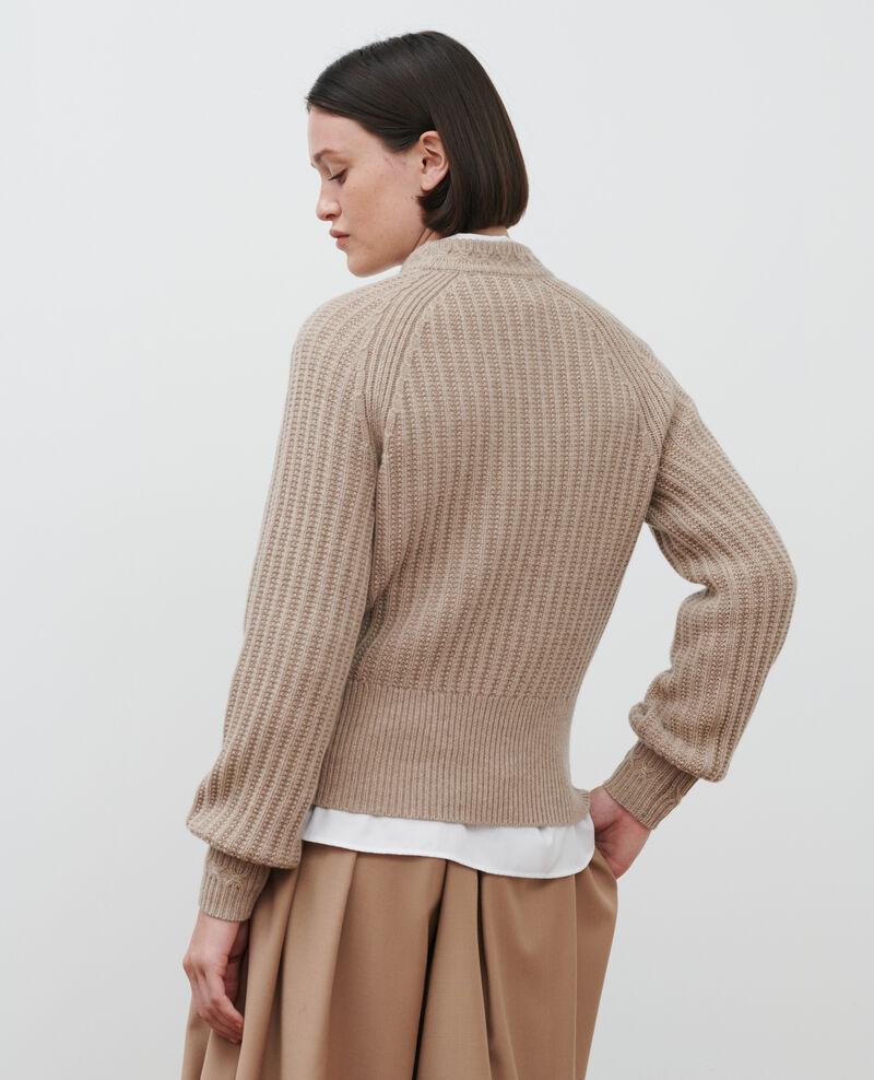 Pull côtelé en laine Latte Ploido