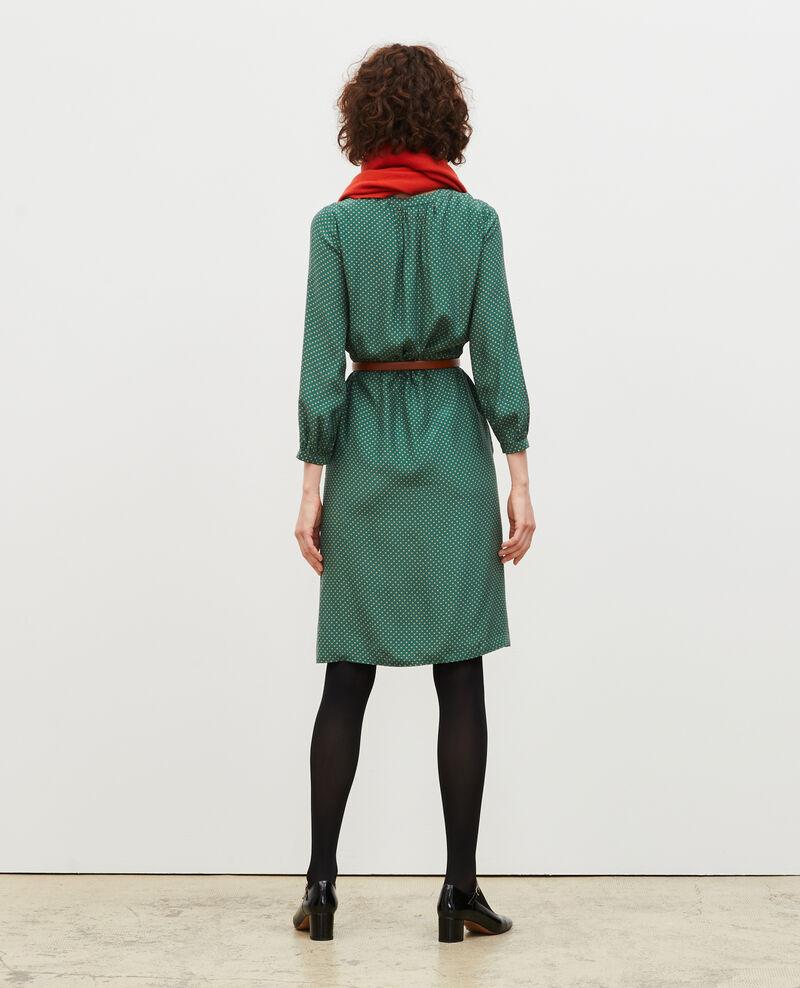 Robe ample en soie Little pois dark green Megrisa