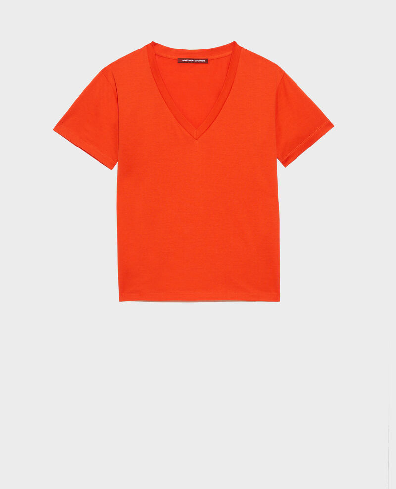 T-shirt en coton col V Spicy orange Laberne