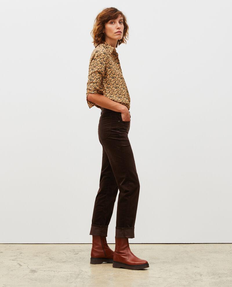 SLIM STRAIGHT - Jean droit en velours lisse 5 poches Coffee bean Muillemin