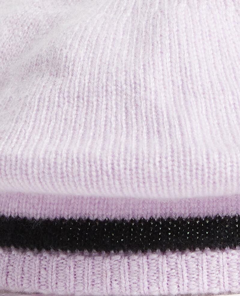 Béret en cachemire Stripe lilac blackbeauty Mions