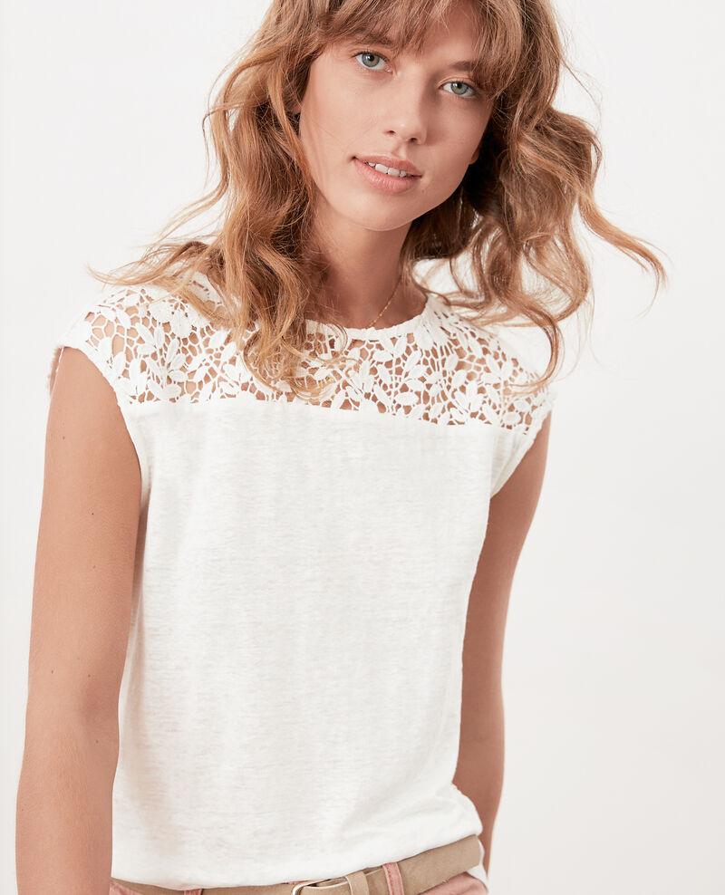 T-shirt en lin avec dos en dentelle Off white Furbigo