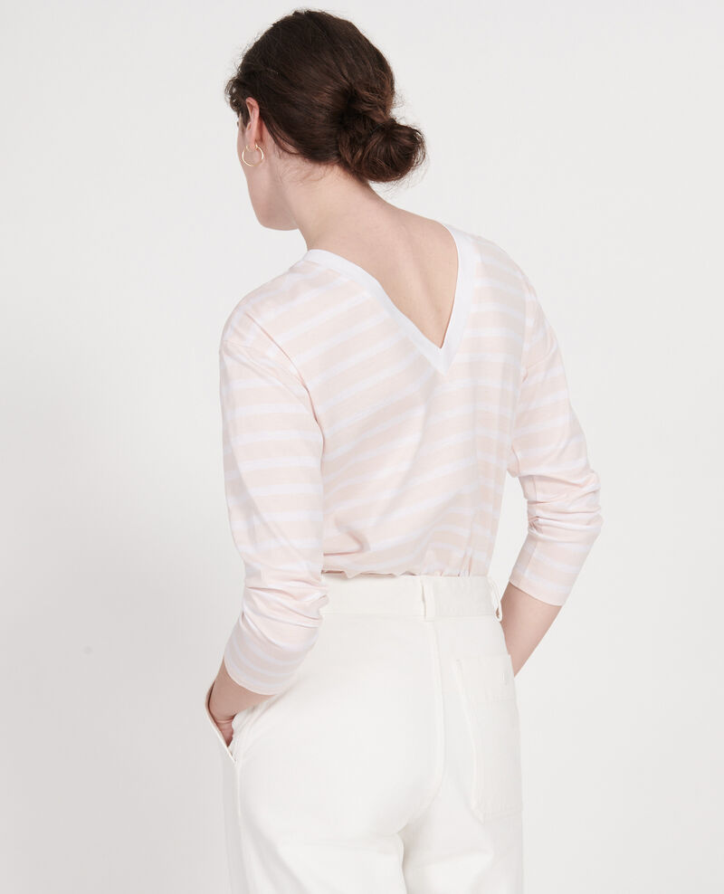 T-shirt en coton égyptien Stripes primrose pink optical white Lana