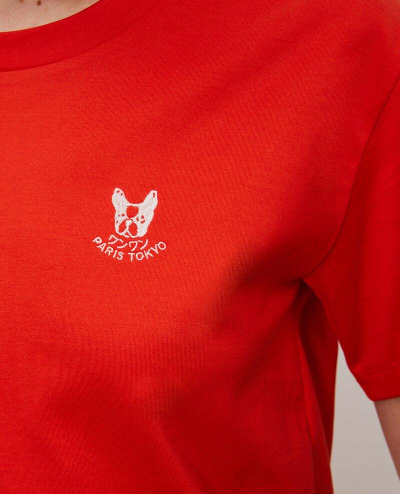 T-shirt brodé en coton Spicy orange Nagano