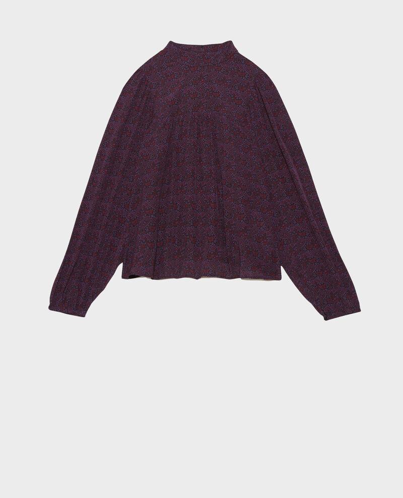 Haut froncé en soie Paisley purple Palante
