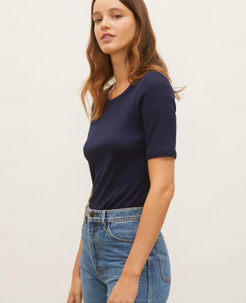 T-shirt fines côtes en coton mercerisé Maritime blue Lasso
