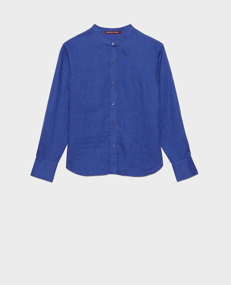 Chemise sans col en lin Royal blue Nawak