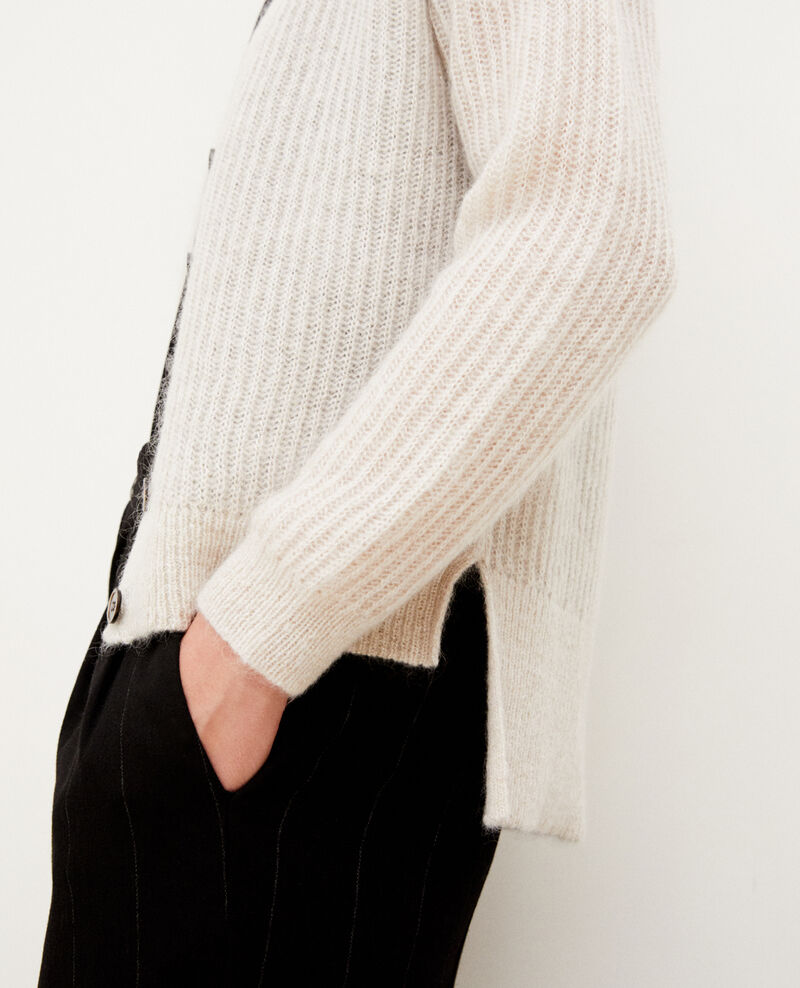 Cardigan avec du mohair Silver gray/off white/lurex Guirlande