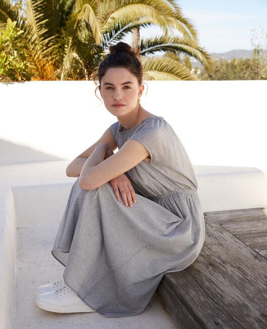 Robe en coton crêpe NAVY/WHITE