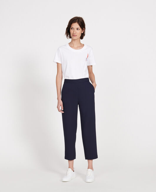 Pantalon fluide élastiqué en polyester MARITIME BLUE