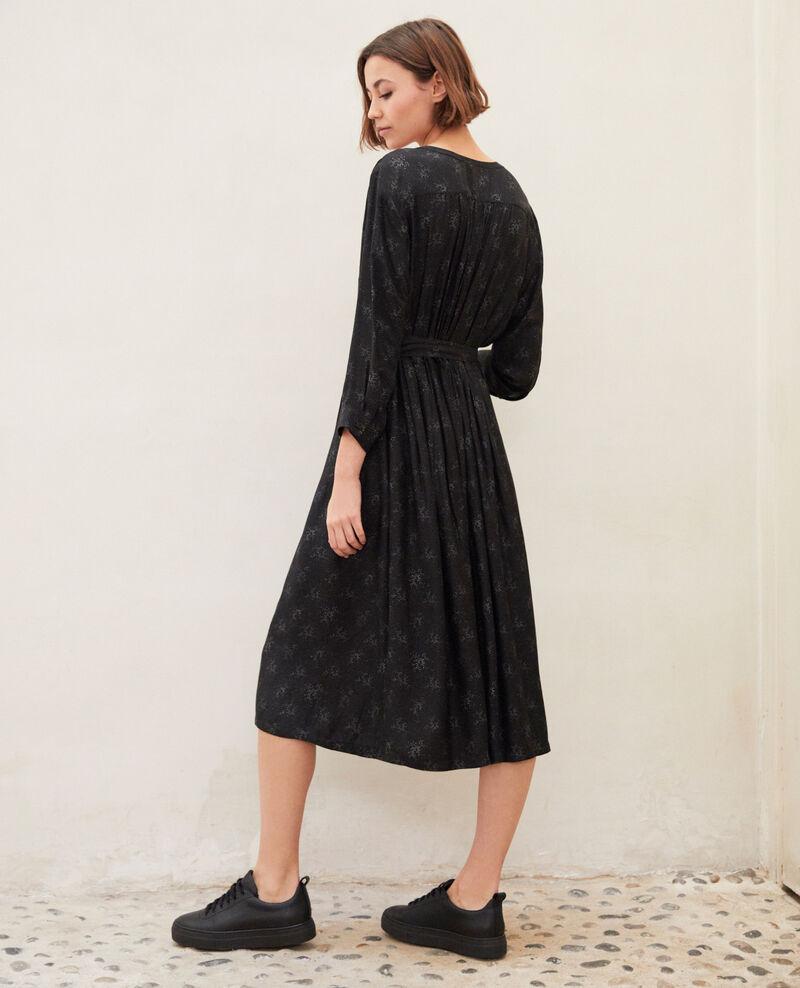 Robe mi-longue imprimée Hurly burly noir Inepie