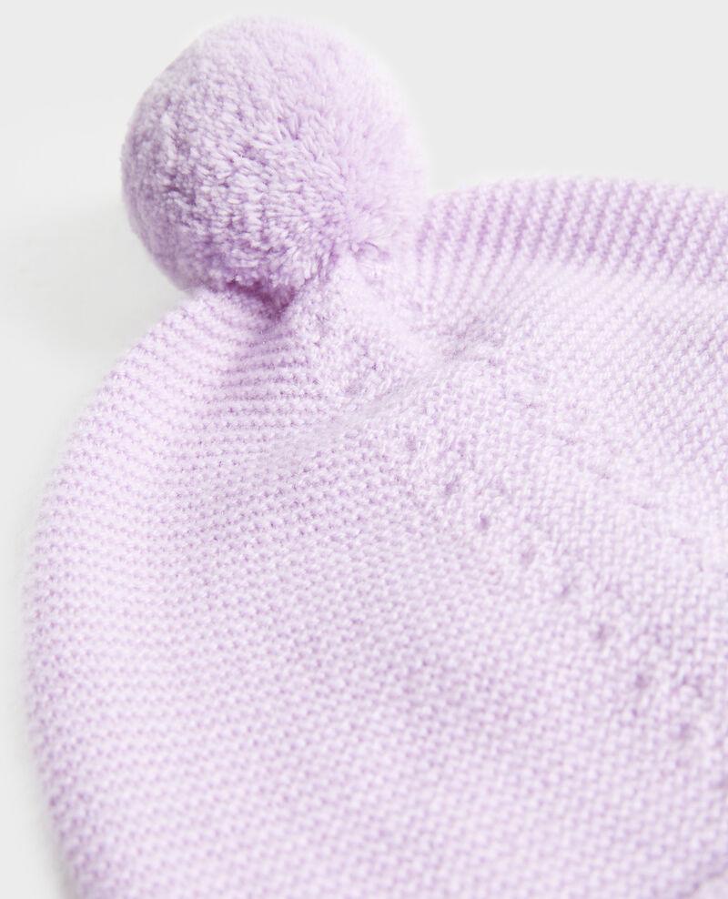 Bonnet en cachemire à pompon Pastel lilac Mimizan