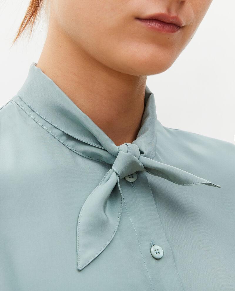 Chemise en soie manches longues col noué Chinois green Margueray