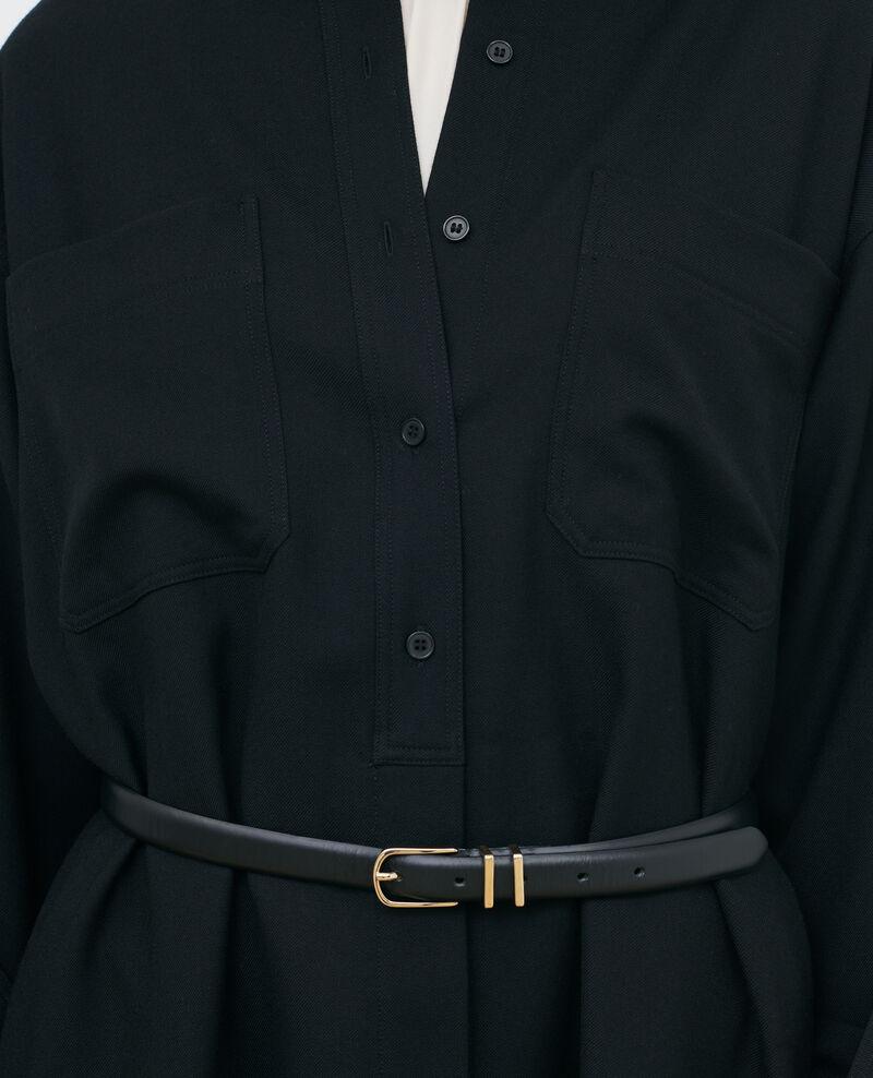 Robe chemise courte oversize Black beauty Paillarde