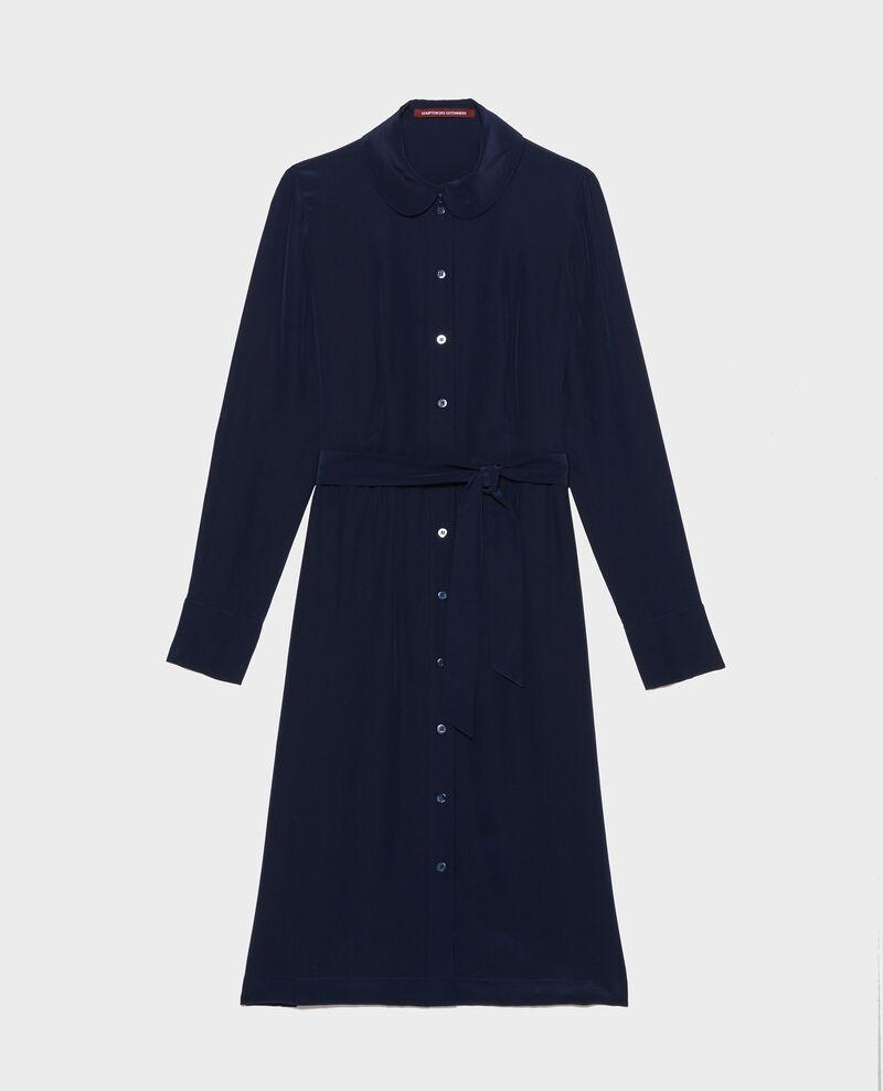 Robe fluide mi-longue en soie Maritime blue Lolita