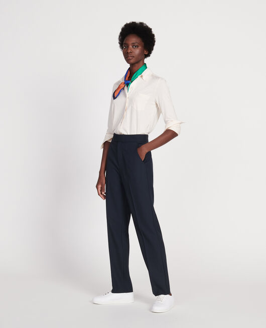 Pantalon droit en laine sèche DARK NAVY