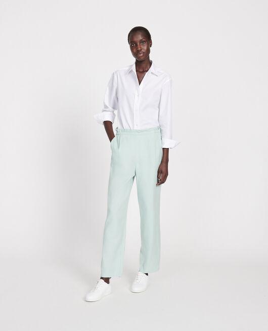 Pantalon élastiqué « easy wear »en lin BLUE HAZE
