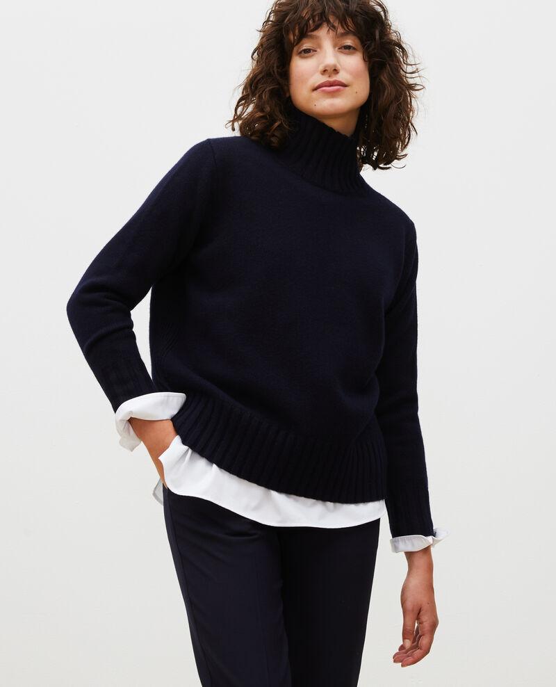 Pull en laine col montant à larges côtes Night sky Marques