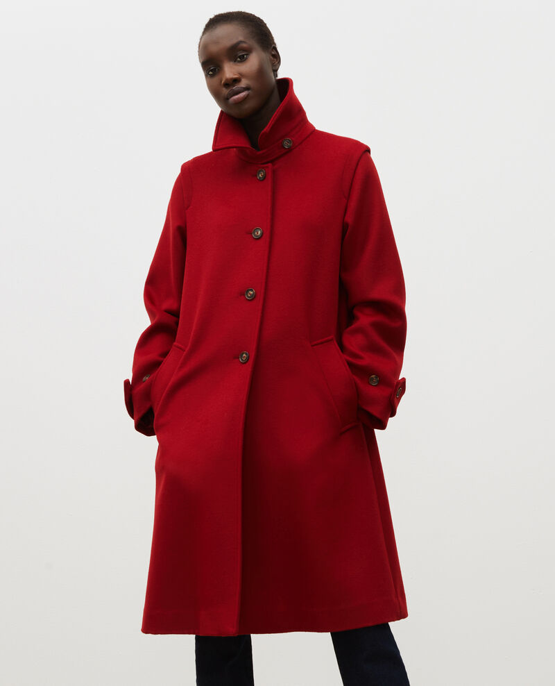 Manteau évasé en laine et cachemire Royale red Madriat