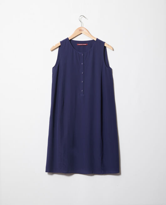 Robe col rond en soie INK NAVY