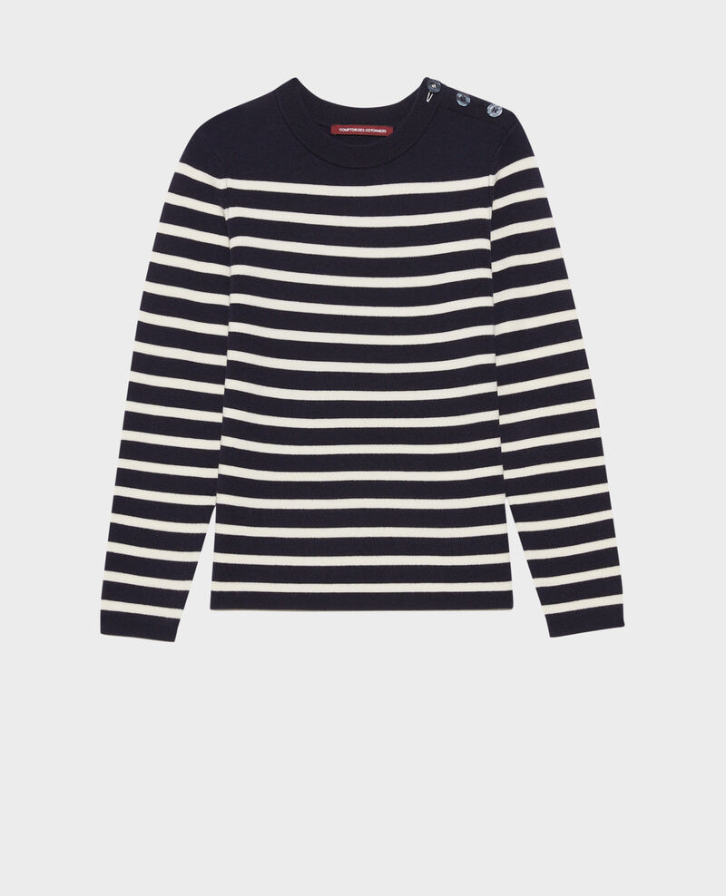 MADDY - Pull marin en laine mérinos Stp nv wht Liselle