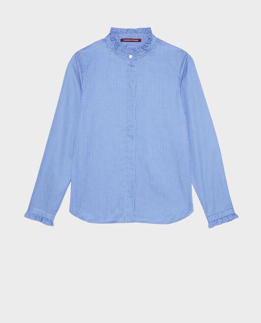 Chemise en coton à col montant volanté BLUE AS PROTO