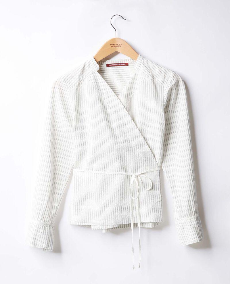 Chemise cache-cœur Off white/navy stripes Figaro