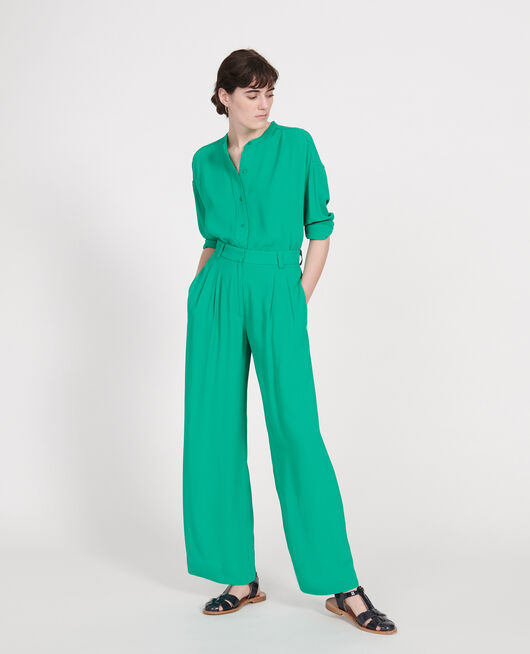 Pantalon large et fluide à plis en viscose GOLF GREEN
