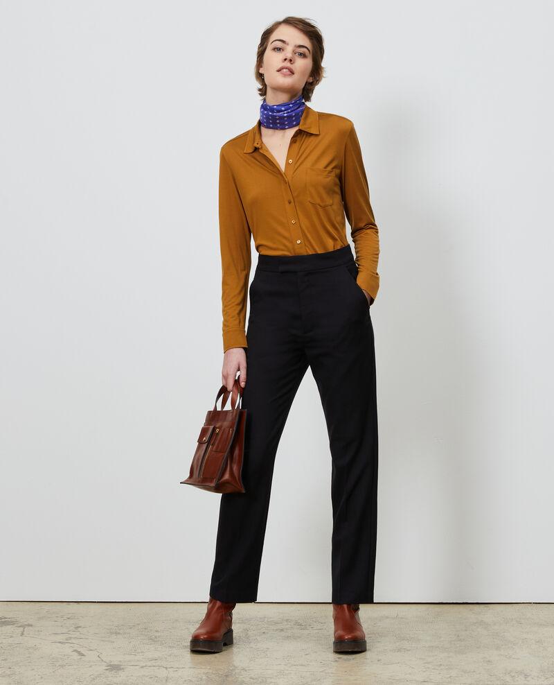 Chemise en jersey de soie Bronze brown Leanor