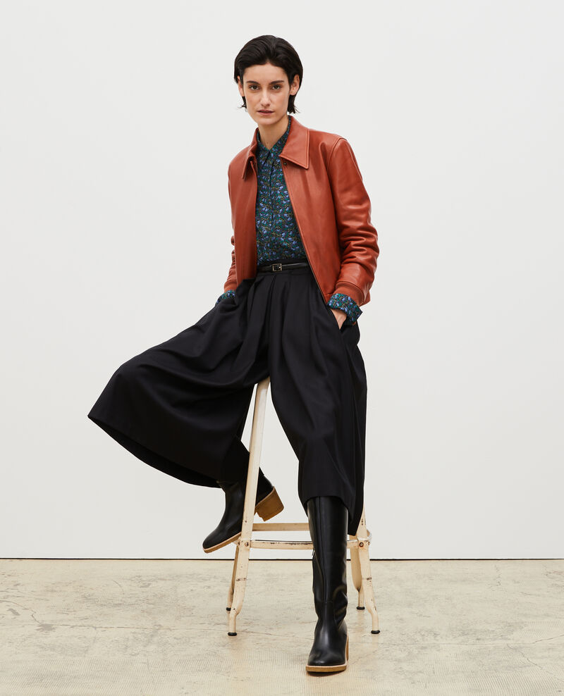 Jupe culotte à plis en laine et cachemire Black beauty Marby