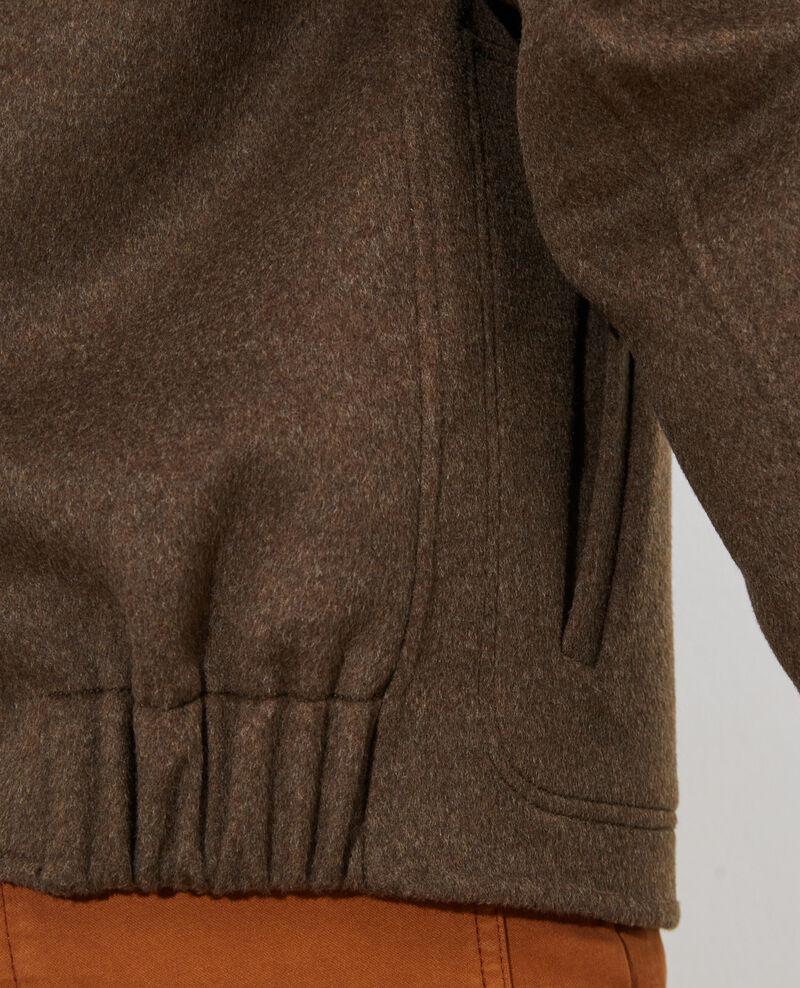 Veste courte en laine et cachemire Kaki Pauguio