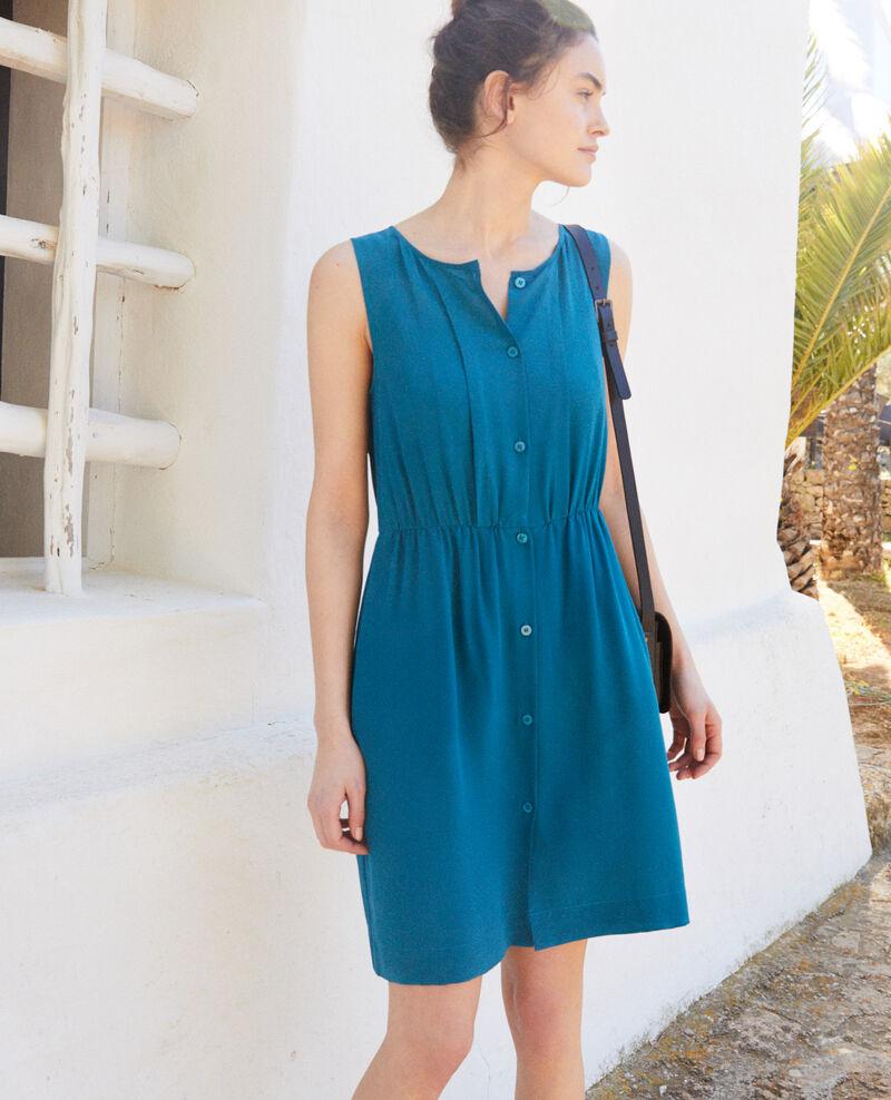 Robe sans manches en soie Turquoise Ilena