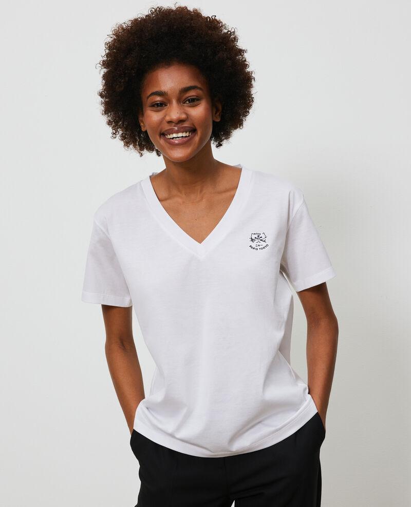 T-shirt brodé en coton Optical white Nagaoka