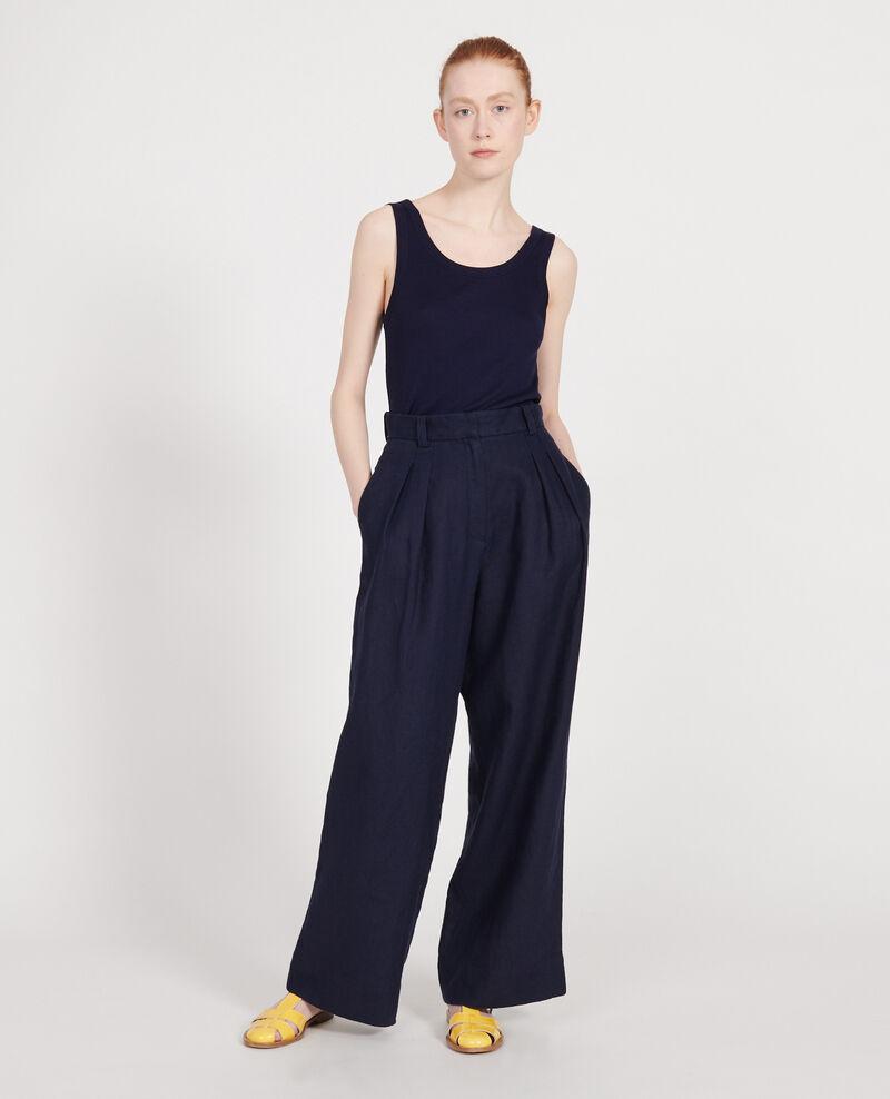 Pantalon large en lin Maritime blue Lafare