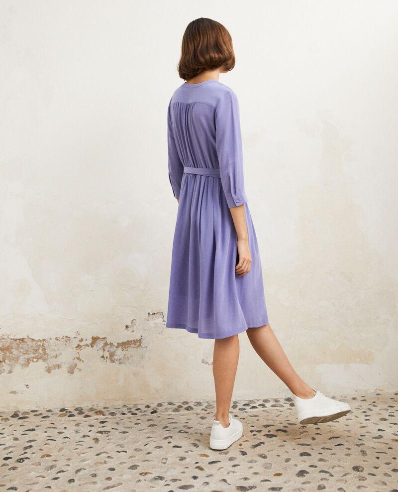 Robe mi-longue avec de la soie Purple blue Idalie