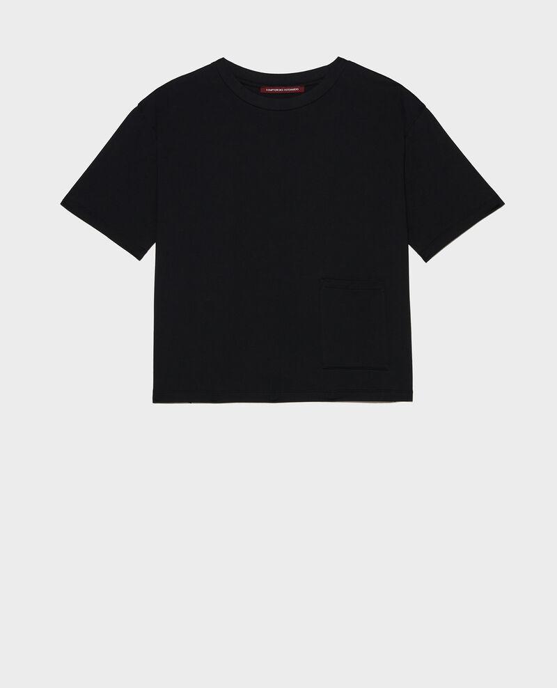 T-Shirt boxy en coton mercerisé Black beauty Lexana