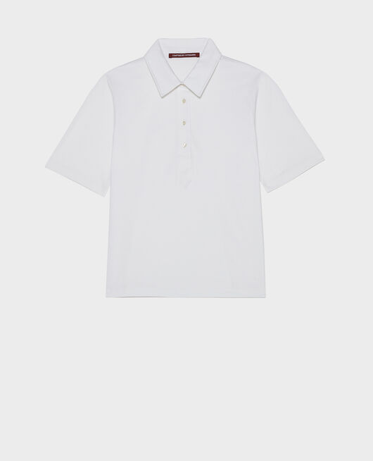 Polo en coton égyptien OPTICAL WHITE