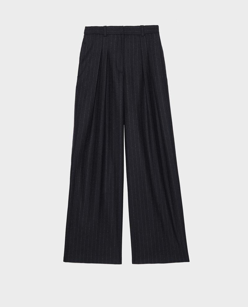 Pantalon YVONNE, large, taille haute en laine Stripes night sky Mefari