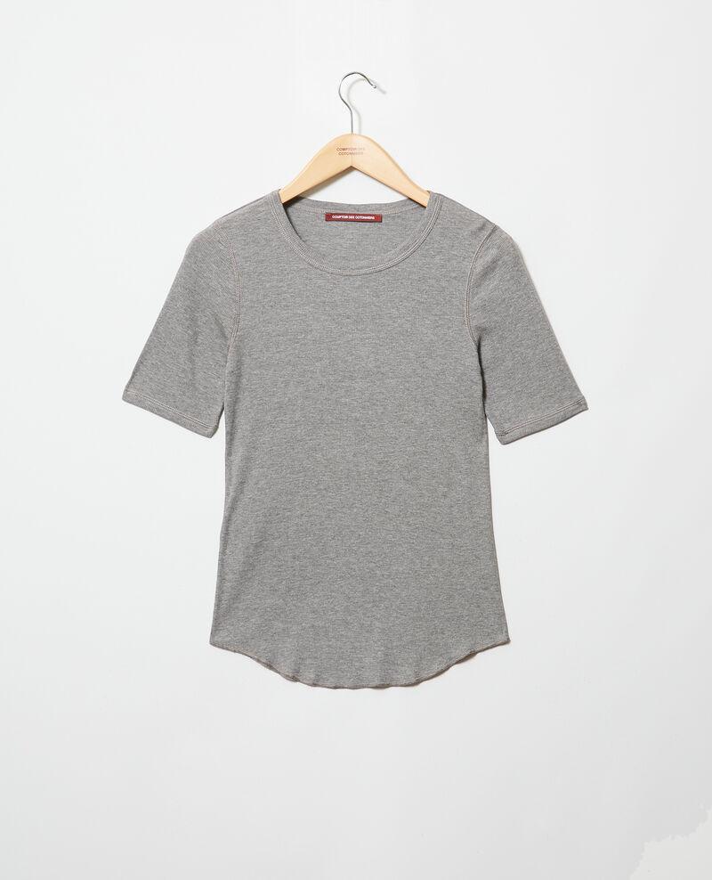 T-shirt côtelé Heather grey Ibabie