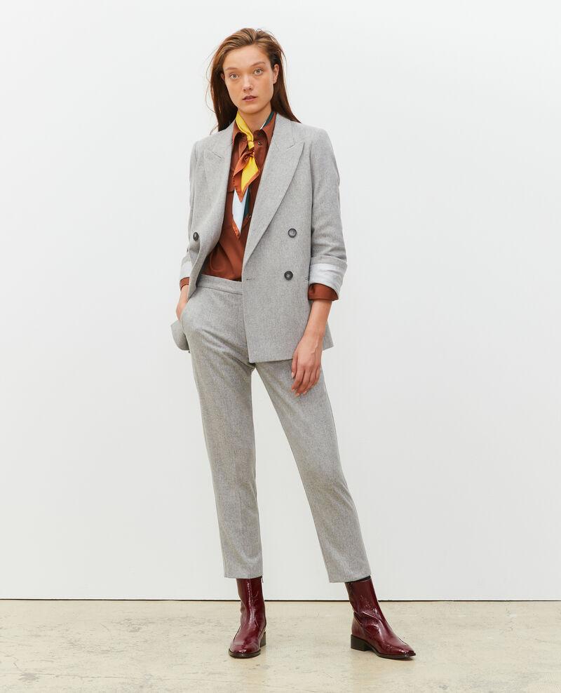 Pantalon MARGUERITE, 7/8e fuselé en laine  Light grey melange Mokyo