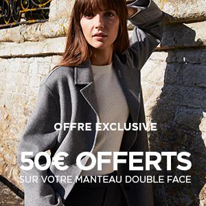 50€ offerts sur votre manteau double face